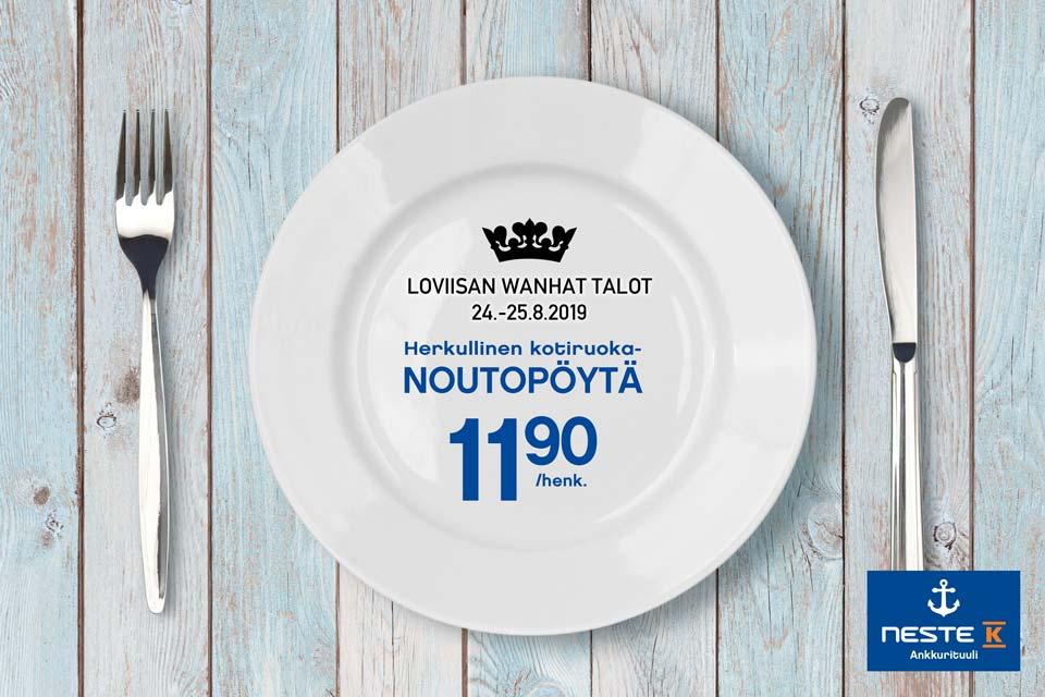Herkullinen kotiruokanoutopöytä Loviisan Wanhat Talot -päivillä 24.-25.8.
